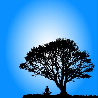 Yogi meditating under a tree