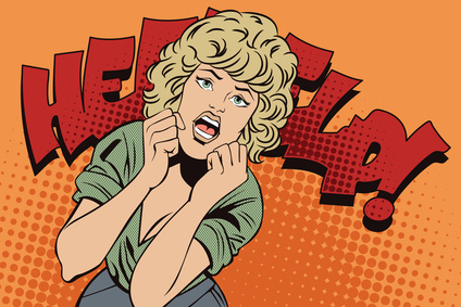 People in retro style pop art. Girl screams in fear.