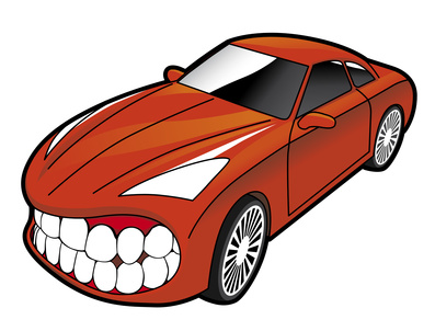Sports car showing teeth