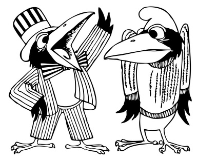 Cartoon ravens talking