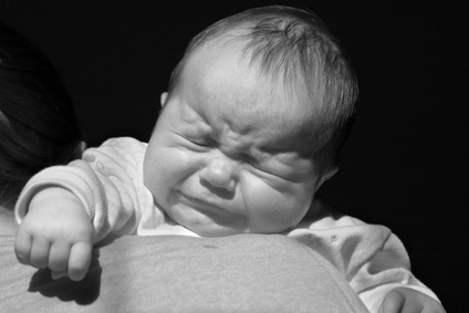A crying baby.