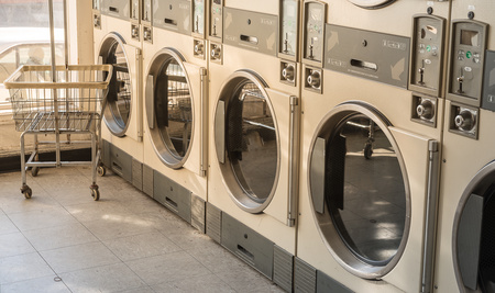 Laundry machines in public laundromat