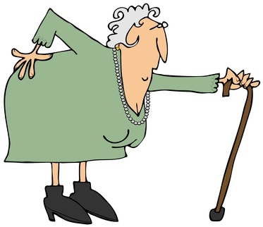 old lady with cane